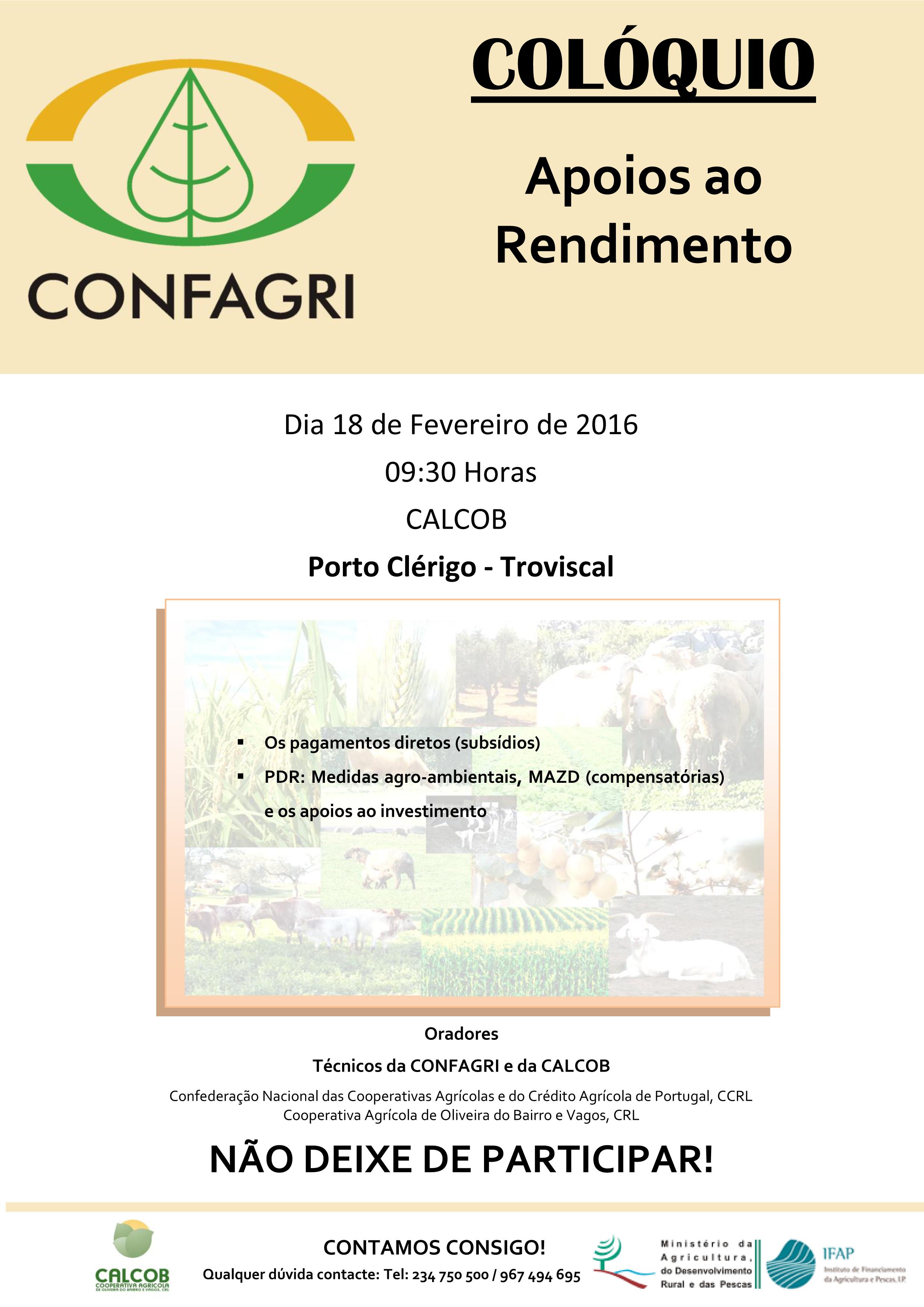 Colóquio APOIOS AO RENDIMENTO 2016